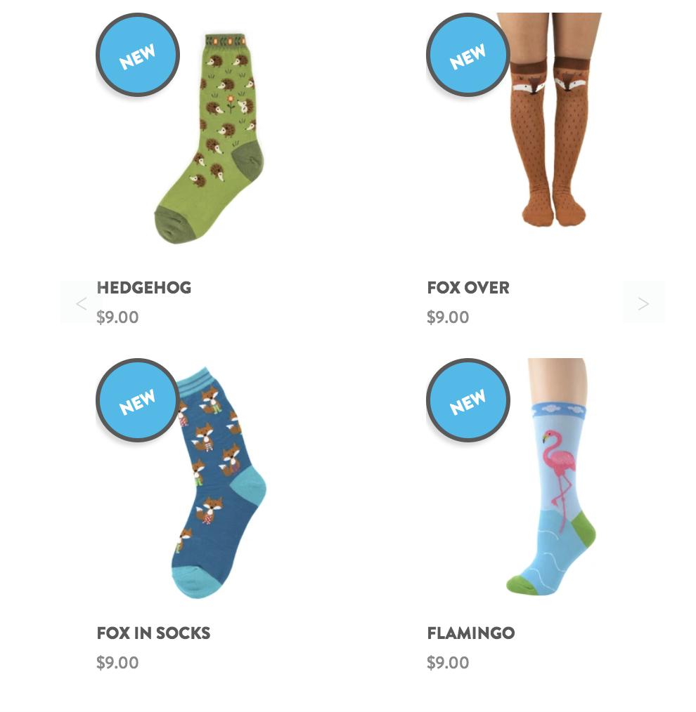 Whimsical socks made of cotton blend fibers.